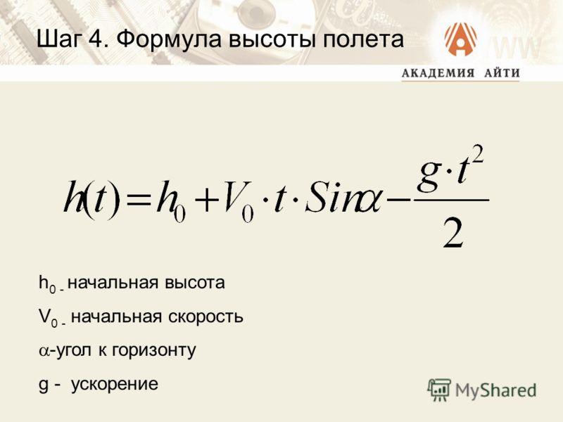 Шаг 4. Формула высоты полета h 0 - начальная высота V 0 - начальная скорость -угол к горизонту g - ускорение