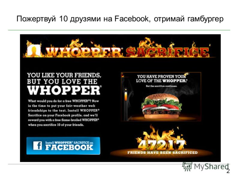 Пожертвуй 10 друзями на Facebook, отримай гамбургер 2