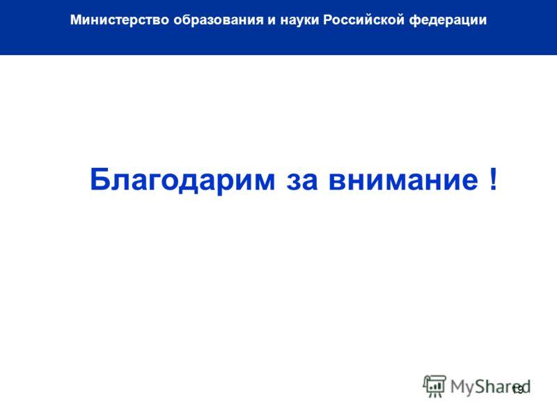 19 Благодарим за внимание ! Министерство образования и науки Российской федерации
