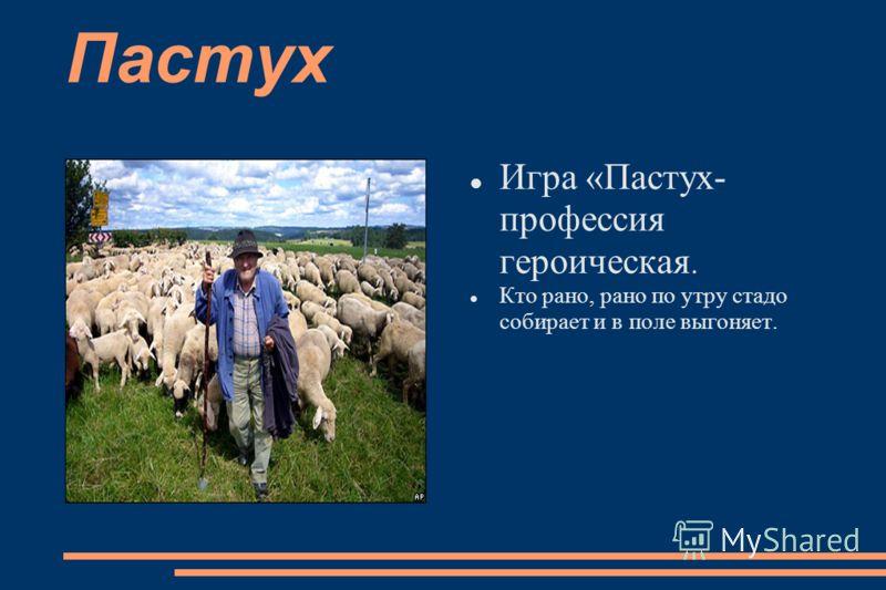Пастух Игра «Пастух- профессия героическая. Кто рано, рано по утру стадо собирает и в поле выгоняет.