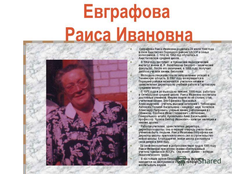 Евграфова Раиса Ивановна Евграфова Раиса Ивановна родилась 24 июля 1944 года в селе Анастасово Порецкого района ЧАССР в семье колхозников. С 1952 по 1962 год обучалась в Анастасовской средней школе. В 1962 году поступает в Чувашский педагогический ин