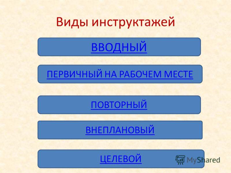 Виды инструктажей ВВОДНЫЙ ПЕРВИЧНЫЙ НА РАБОЧЕМ МЕСТЕ ПОВТОРНЫЙ ВНЕПЛАНОВЫЙ ЦЕЛЕВОЙ