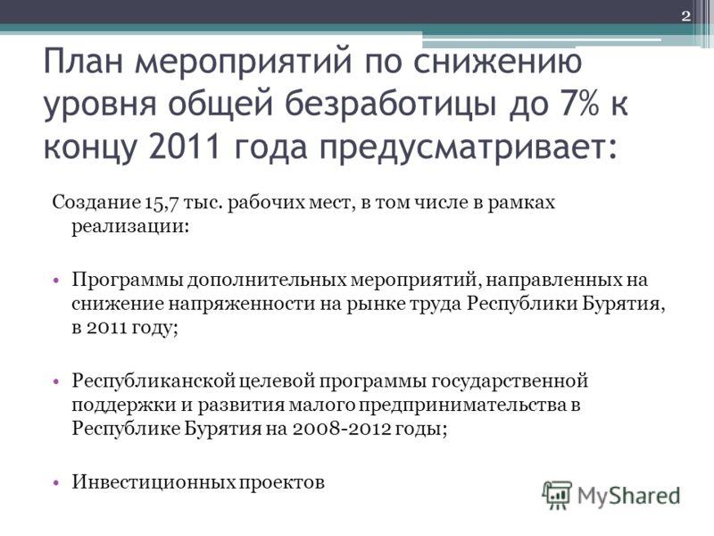 План мероприятий по снижению уровня общей безработицы до 7% к концу 2011 года предусматривает: Создание 15,7 тыс. рабочих мест, в том числе в рамках реализации: Программы дополнительных мероприятий, направленных на снижение напряженности на рынке тру