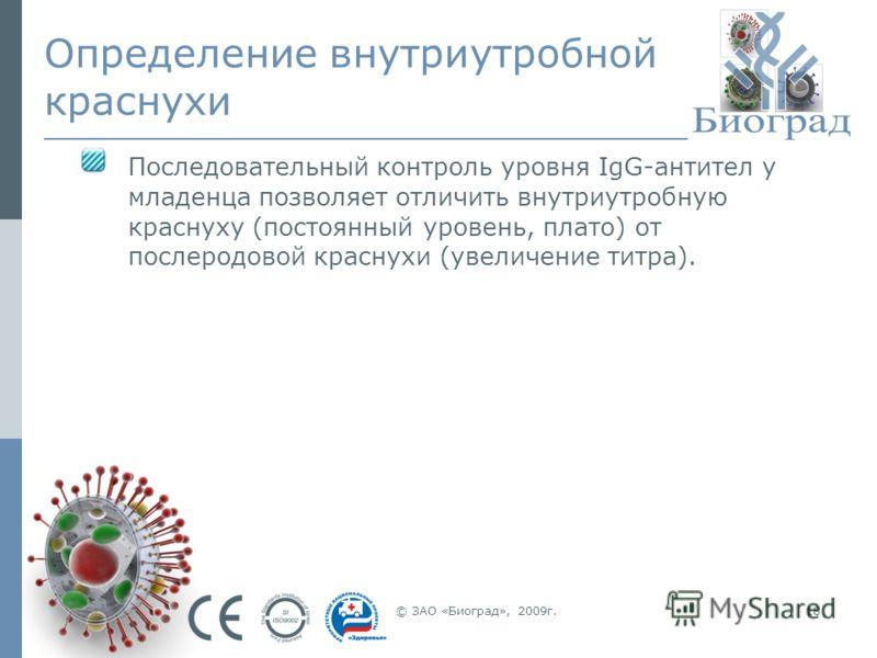 © ЗАО «Биоград», 2009г.18 Определение внутриутробной краснухи Последовательный контроль уровня IgG-антител у младенца позволяет отличить внутриутробную краснуху (постоянный уровень, плато) от послеродовой краснухи (увеличение титра).