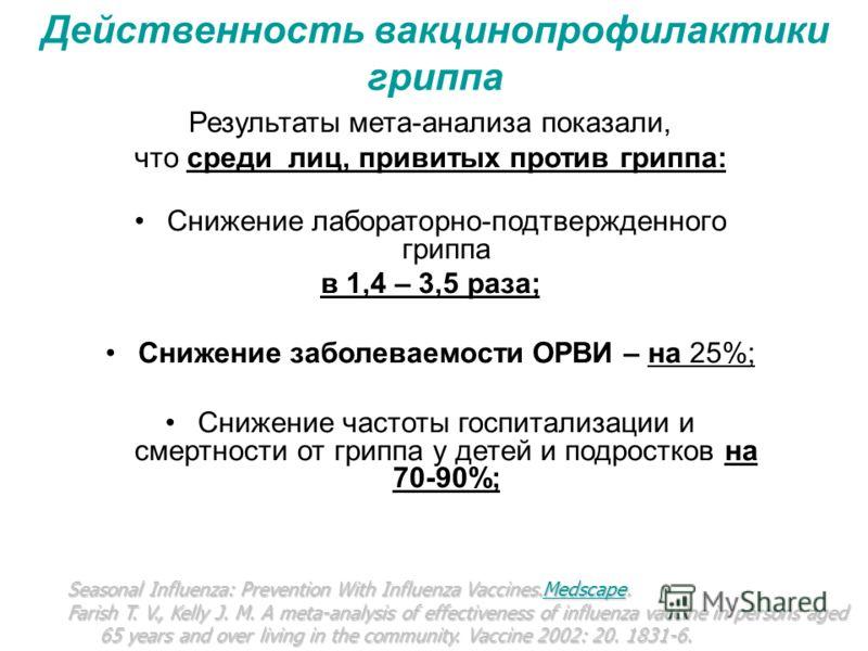 Действенность вакцинопрофилактики гриппа Результаты мета-анализа показали, что среди лиц, привитых против гриппа: Снижение лабораторно-подтвержденного гриппа в 1,4 – 3,5 раза; Снижение заболеваемости ОРВИ – на 25%; Снижение частоты госпитализации и с
