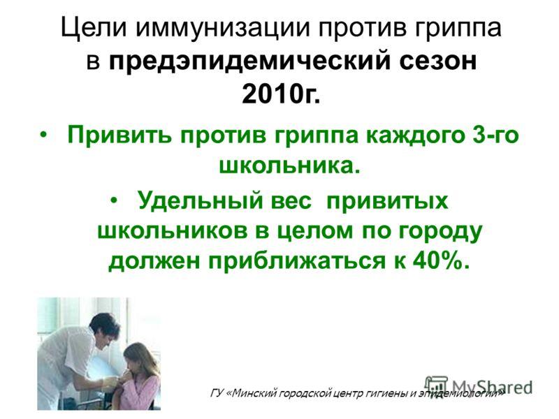 Цели иммунизации против гриппа в предэпидемический сезон 2010г. Привить против гриппа каждого 3-го школьника. Удельный вес привитых школьников в целом по городу должен приближаться к 40%. ГУ «Минский городской центр гигиены и эпидемиологии »