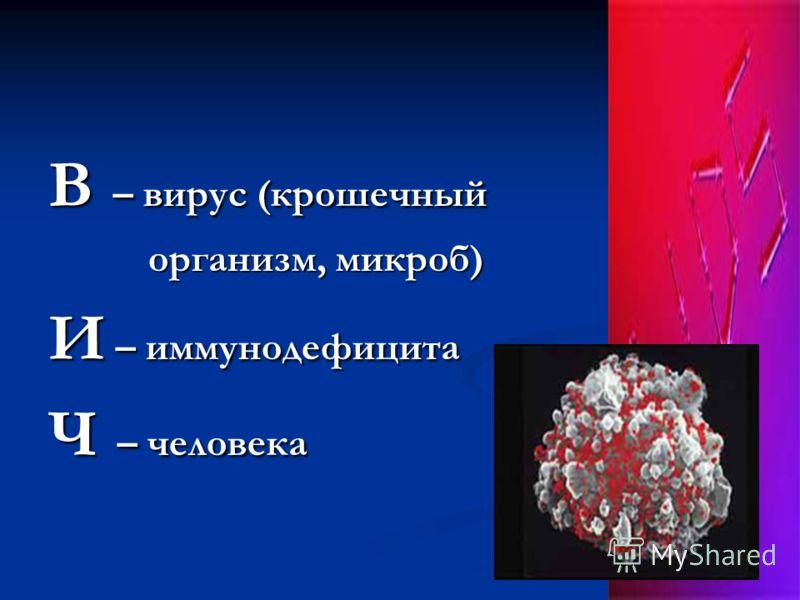 В – вирус (крошечный организм, микроб) организм, микроб) И – иммунодефицита Ч – человека