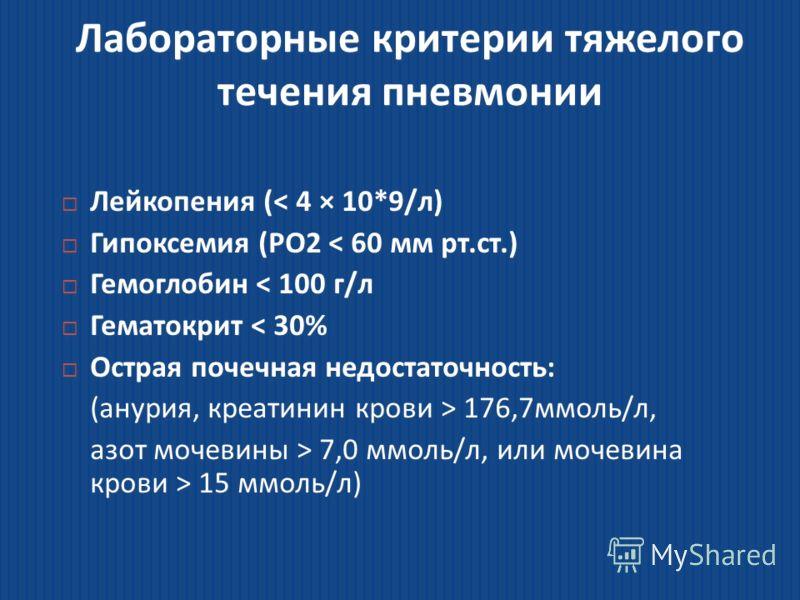 Лабораторные критерии тяжелого течения пневмонии Лейкопения (< 4 × 10*9/л) Лейкопения (< 4 × 10*9/л) Гипоксемия (PO2 < 60 мм рт.ст.) Гипоксемия (PO2 < 60 мм рт.ст.) Гемоглобин < 100 г/л Гемоглобин < 100 г/л Гематокрит < 30% Гематокрит < 30% Острая по