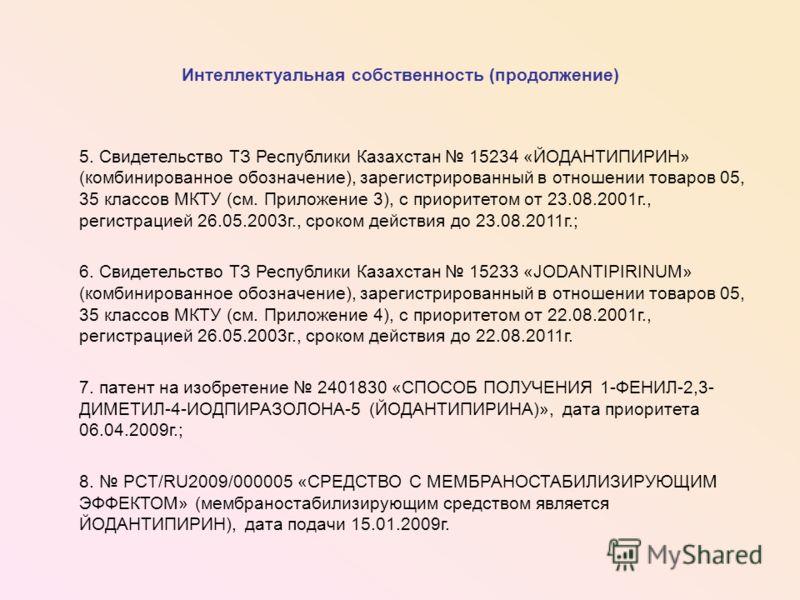 Интеллектуальная собственность (продолжение) 5. Свидетельство ТЗ Республики Казахстан 15234 «ЙОДАНТИПИРИН» (комбинированное обозначение), зарегистрированный в отношении товаров 05, 35 классов МКТУ (см. Приложение 3), с приоритетом от 23.08.2001г., ре