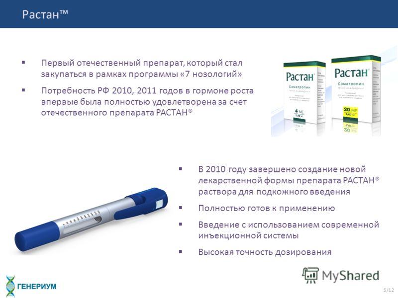 Растан 5/12 Первый отечественный препарат, который стал закупаться в рамках программы «7 нозологий» Потребность РФ 2010, 2011 годов в гормоне роста впервые была полностью удовлетворена за счет отечественного препарата РАСТАН® В 2010 году завершено со