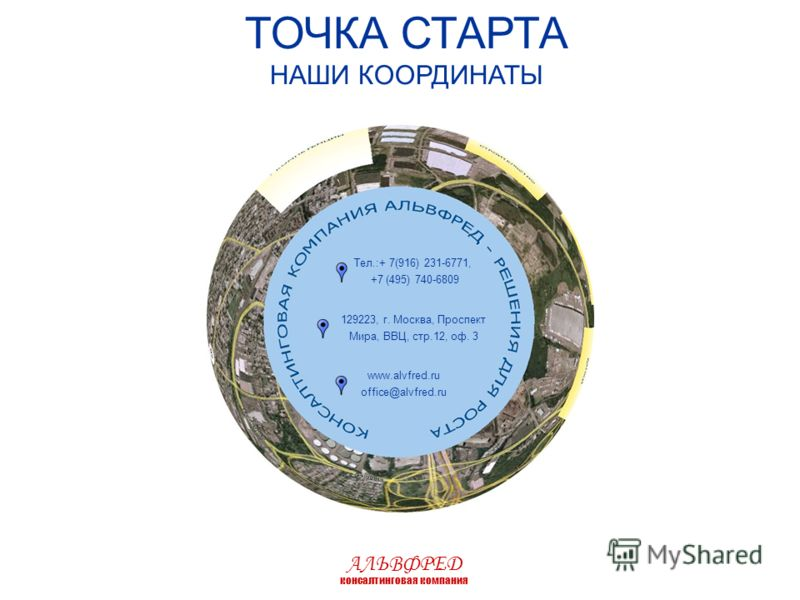 ТОЧКА СТАРТА НАШИ КООРДИНАТЫ Тел.:+ 7(916) 231-6771, +7 (495) 740-6809 129223, г. Москва, Проспект Мира, ВВЦ, стр.12, оф. 3 www.alvfred.ru office@alvfred.ru АЛЬВФРЕД консалтинговая компания