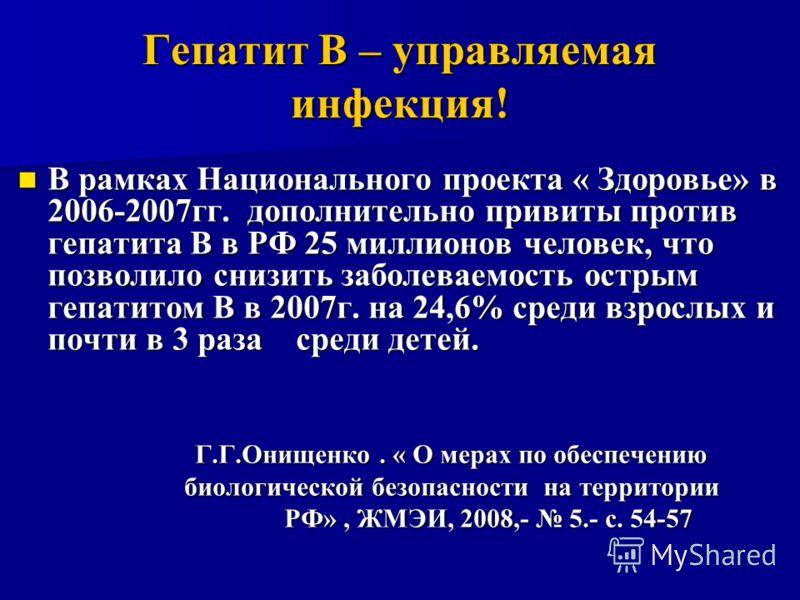 Гепатит В – управляемая инфекция! В рамках Национального проекта « Здоровье» в 2006-2007гг. дополнительно привиты против гепатита В в РФ 25 миллионов человек, что позволило снизить заболеваемость острым гепатитом В в 2007г. на 24,6% среди взрослых и