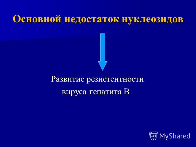 Основной недостаток нуклеозидов Развитие резистентности вируса гепатита В вируса гепатита В