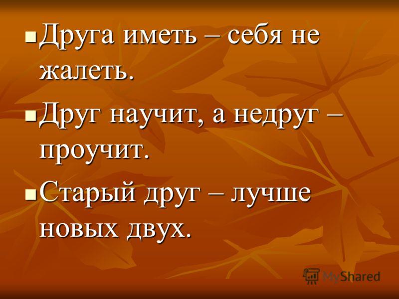 Друга иметь – себя не жалеть. Друг научит, а недруг – проучит. Старый друг – лучше новых двух.