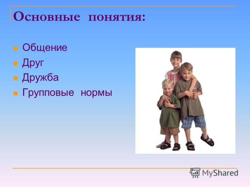 Основные понятия: Общение Друг Дружба Групповые нормы