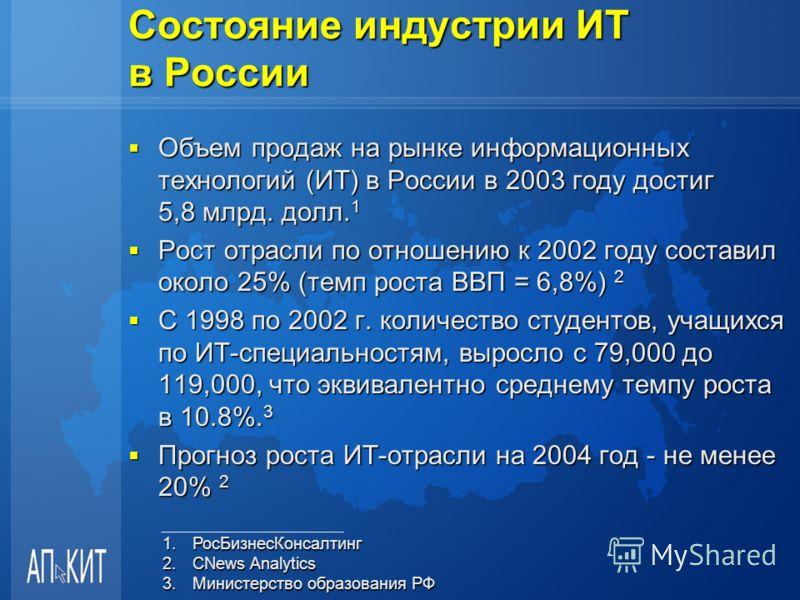 Состояние индустрии ИТ в России Объем продаж на рынке информационных технологий (ИТ) в России в 2003 году достиг 5,8 млрд. долл. 1 Объем продаж на рынке информационных технологий (ИТ) в России в 2003 году достиг 5,8 млрд. долл. 1 Рост отрасли по отно