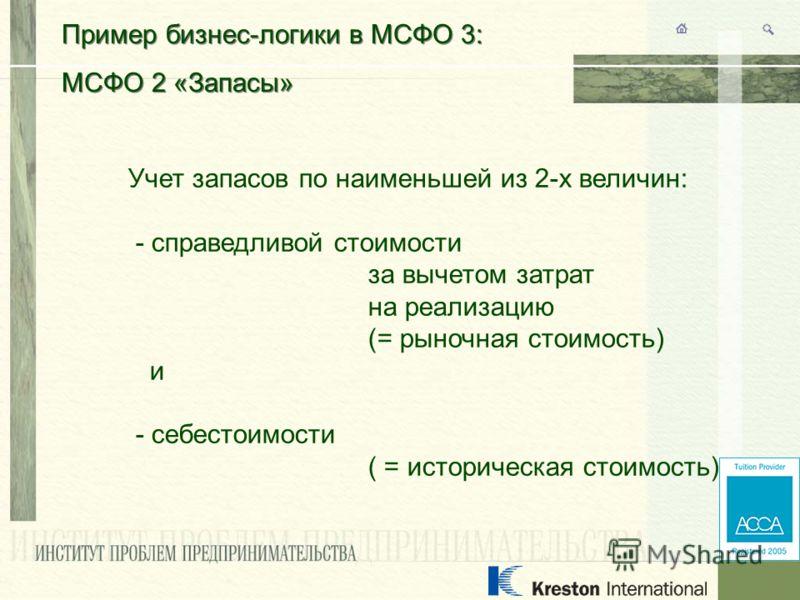 Пример бизнес-логики в МСФО 3: МСФО 2 «Запасы» Пример бизнес-логики в МСФО 3: МСФО 2 «Запасы» Учет запасов по наименьшей из 2-х величин: - справедливой стоимости за вычетом затрат на реализацию (= рыночная стоимость) и - себестоимости ( = историческа