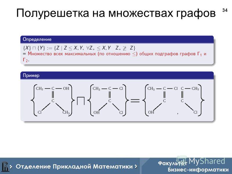 34 Полурешетка на множествах графов