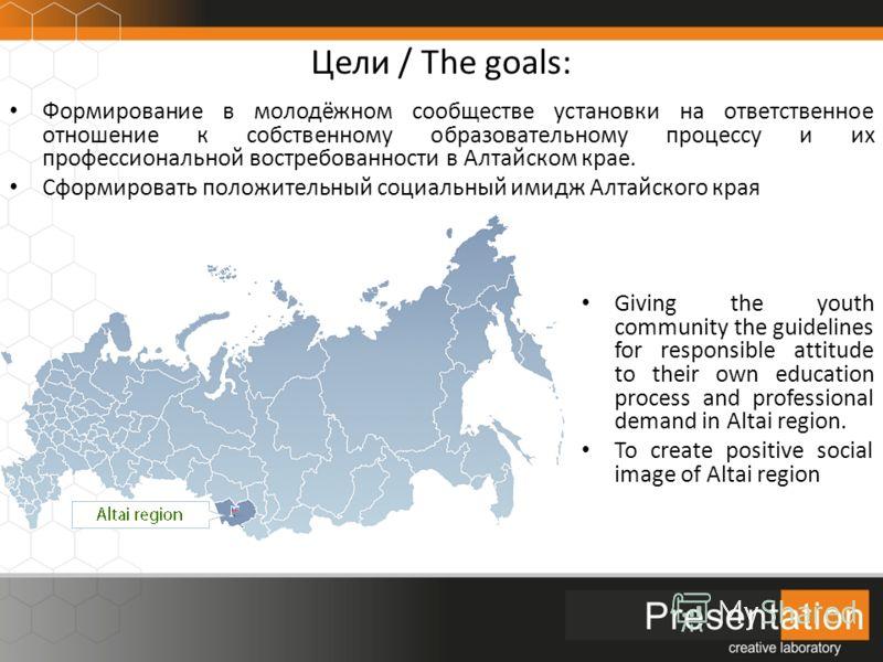 Цели / The goals: Формирование в молодёжном сообществе установки на ответственное отношение к собственному образовательному процессу и их профессиональной востребованности в Алтайском крае. Сформировать положительный социальный имидж Алтайского края