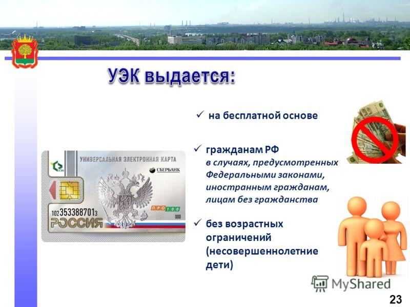 на бесплатной основе гражданам РФ в случаях, предусмотренных Федеральными законами, иностранным гражданам, лицам без гражданства без возрастных ограничений (несовершеннолетние дети) 23