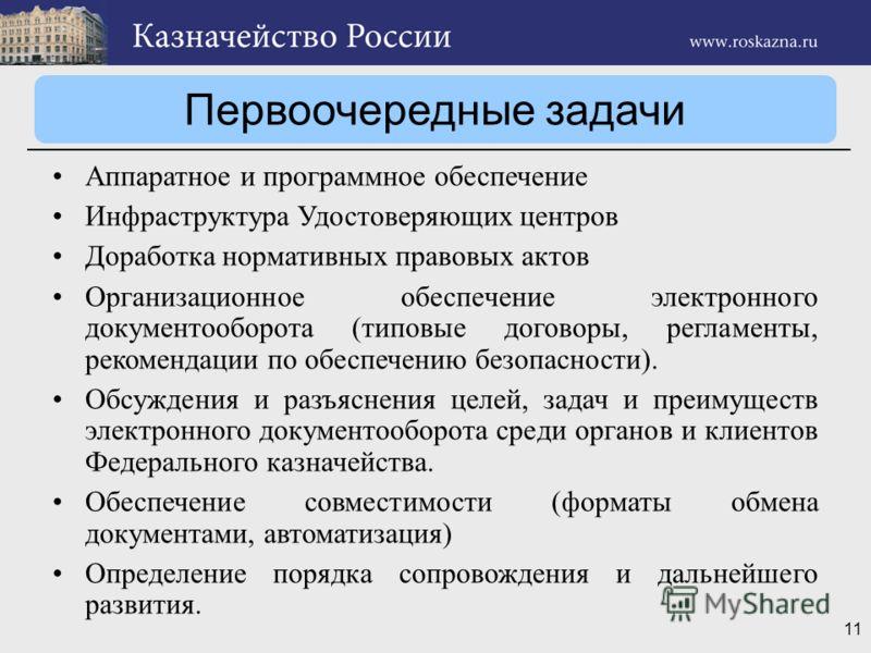 11 Первоочередные задачи Аппаратное и программное обеспечение Инфраструктура Удостоверяющих центров Доработка нормативных правовых актов Организационное обеспечение электронного документооборота (типовые договоры, регламенты, рекомендации по обеспече