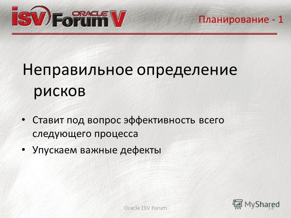Oracle ISV Forum14 Неправильное определение рисков Планирование - 1 Ставит под вопрос эффективность всего следующего процесса Упускаем важные дефекты