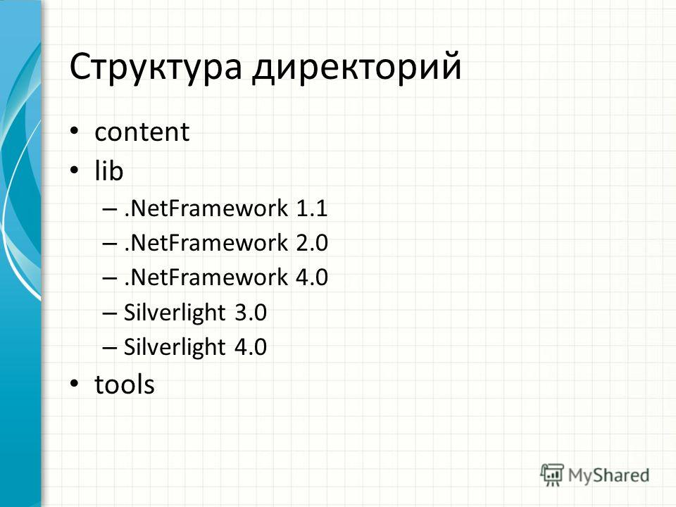 Структура директорий content lib –.NetFramework 1.1 –.NetFramework 2.0 –.NetFramework 4.0 – Silverlight 3.0 – Silverlight 4.0 tools
