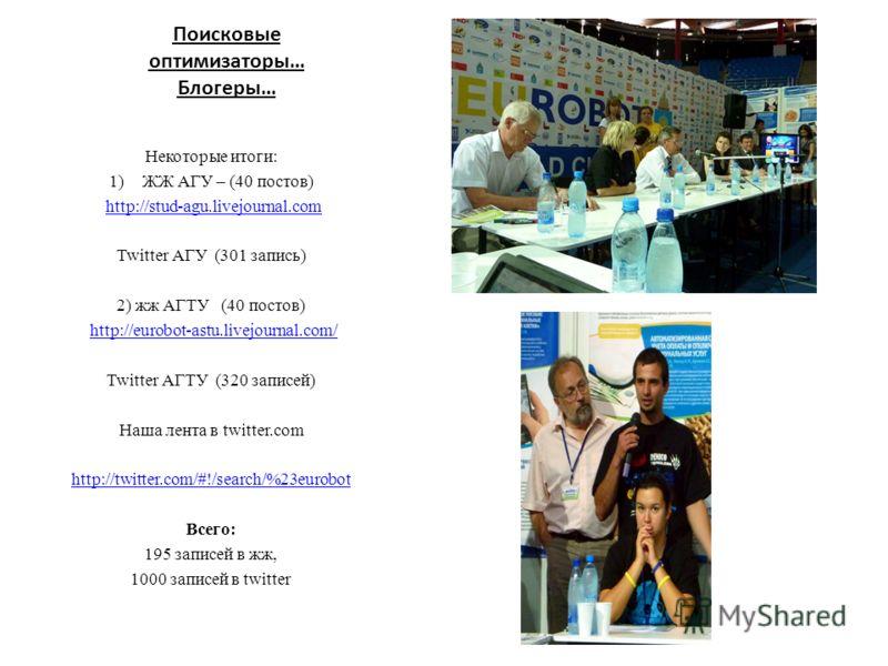 Поисковые оптимизаторы… Блогеры… Некоторые итоги: 1)ЖЖ АГУ – (40 постов) http://stud-agu.livejournal.com Twitter АГУ (301 запись) 2) жж АГТУ (40 постов) http://eurobot-astu.livejournal.com/ Twitter АГТУ (320 записей) Наша лента в twitter.com http://t