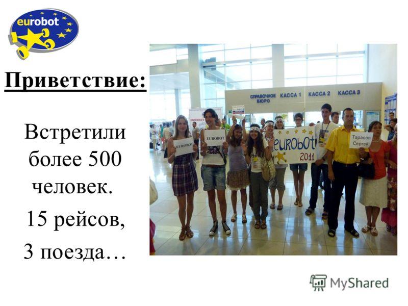 Приветствие: Встретили более 500 человек. 15 рейсов, 3 поезда…