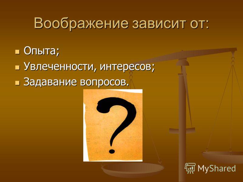 Воображение зависит от: Опыта; Опыта; Увлеченности, интересов; Увлеченности, интересов; Задавание вопросов. Задавание вопросов.