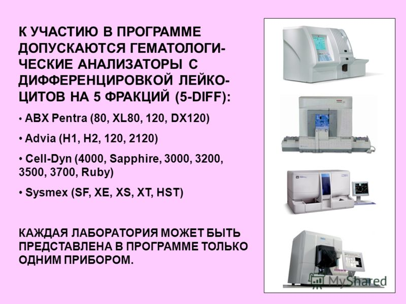 К УЧАСТИЮ В ПРОГРАММЕ ДОПУСКАЮТСЯ ГЕМАТОЛОГИ- ЧЕСКИЕ АНАЛИЗАТОРЫ С ДИФФЕРЕНЦИРОВКОЙ ЛЕЙКО- ЦИТОВ НА 5 ФРАКЦИЙ (5-DIFF): ABX Pentra (80, XL80, 120, DX120) Advia (H1, H2, 120, 2120) Cell-Dyn (4000, Sapphire, 3000, 3200, 3500, 3700, Ruby) Sysmex (SF, XE