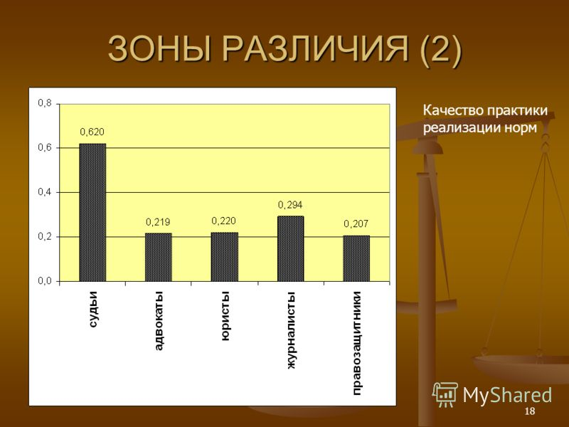 18 ЗОНЫ РАЗЛИЧИЯ (2) Качество практики реализации норм