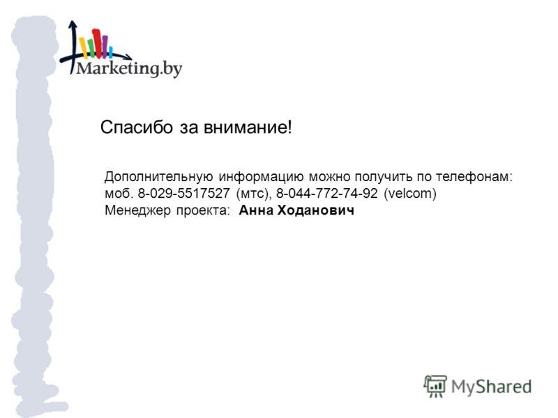 Спасибо за внимание! Дополнительную информацию можно получить по телефонам: моб. 8-029-5517527 (мтс), 8-044-772-74-92 (velcom) Менеджер проекта: Анна Ходанович