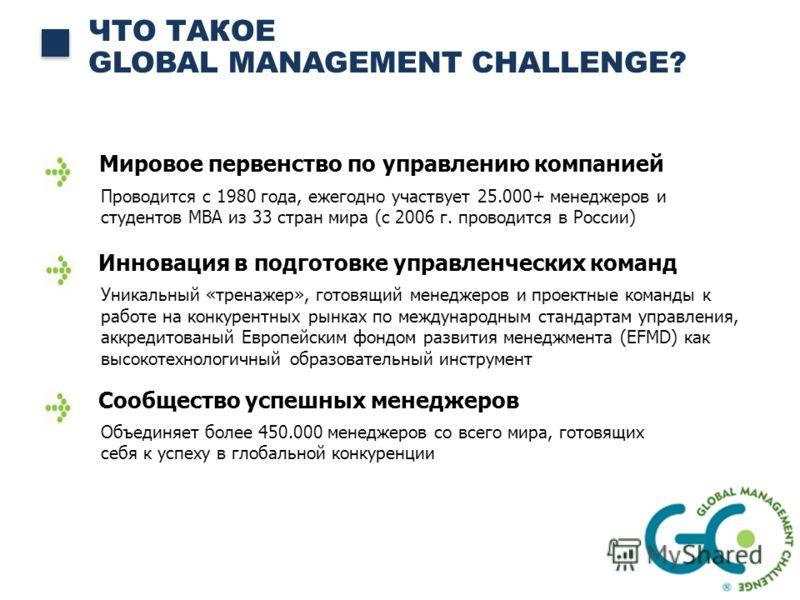 ЧТО ТАКОЕ GLOBAL MANAGEMENT CHALLENGE? Мировое первенство по управлению компанией Проводится с 1980 года, ежегодно участвует 25.000+ менеджеров и студентов MBA из 33 стран мира (с 2006 г. проводится в России) Инновация в подготовке управленческих ком