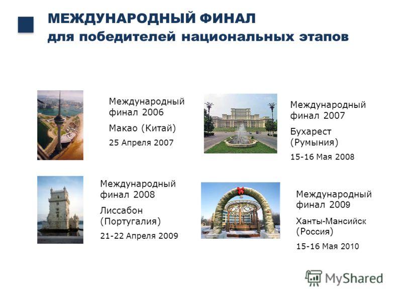 Международный финал 2008 Лиссабон (Португалия) 21-22 Апреля 2009 Международный финал 2006 Макао (Китай) 25 Апреля 2007 МЕЖДУНАРОДНЫЙ ФИНАЛ для победителей национальных этапов Международный финал 2007 Бухарест (Румыния) 15-16 Мая 200 8 Международный ф
