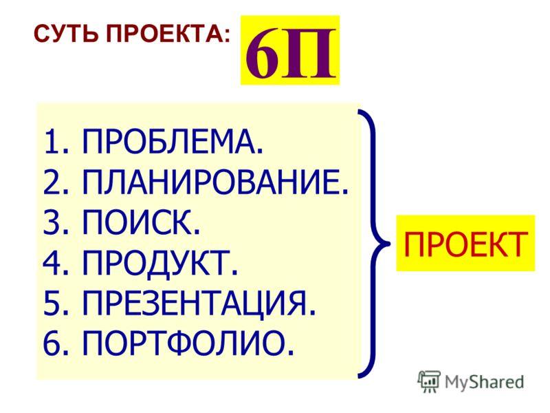 СУТЬ ПРОЕКТА: 6П 1. ПРОБЛЕМА. 2. ПЛАНИРОВАНИЕ. 3. ПОИСК. 4. ПРОДУКТ. 5. ПРЕЗЕНТАЦИЯ. 6. ПОРТФОЛИО. ПРОЕКТ