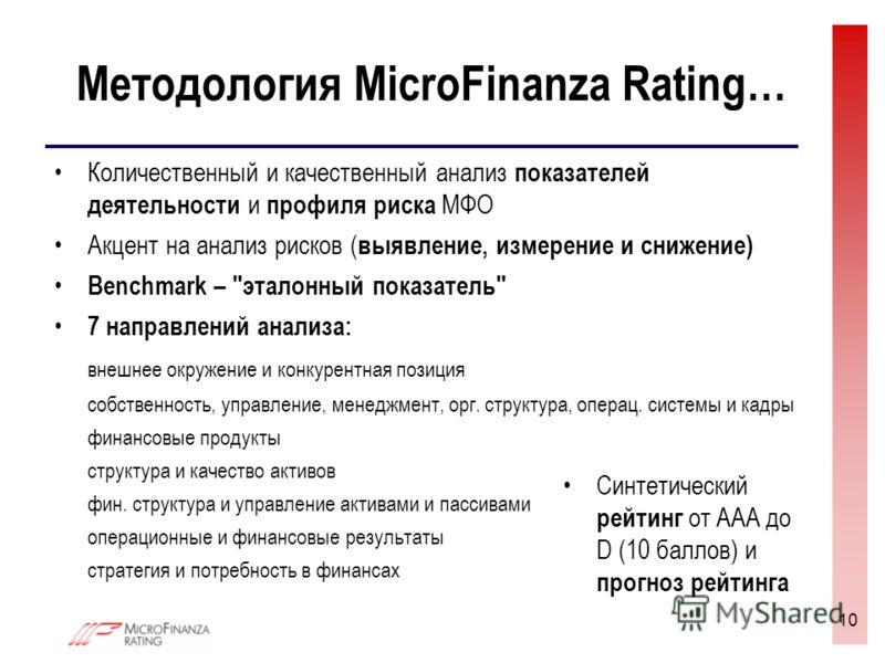 10 Методология MicroFinanza Rating… Количественный и качественный анализ показателей деятельности и профиля риска МФО Акцент на анализ рисков ( выявление, измерение и снижение) Benchmark –
