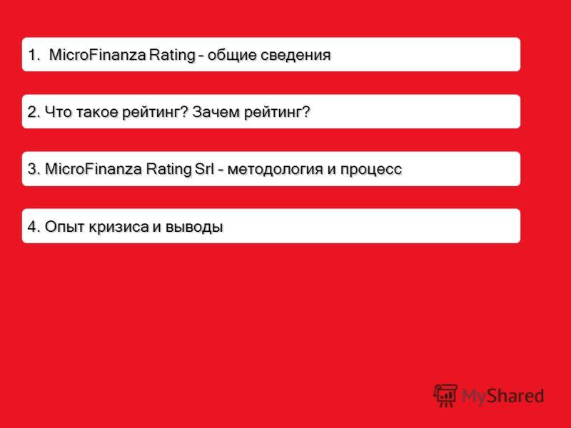 2. Что такое рейтинг? Зачем рейтинг? 1. MicroFinanza Rating – общие сведения 3. MicroFinanza Rating Srl – методология и процесс 4. Опыт кризиса и выводы