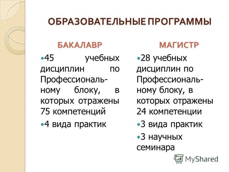 ОБРАЗОВАТЕЛЬНЫЕ ПРОГРАММЫ БАКАЛАВР 45 учебных дисциплин по Профессиональ- ному блоку, в которых отражены 75 компетенций 4 вида практикМАГИСТР 28 учебных дисциплин по Профессиональ- ному блоку, в которых отражены 24 компетенции 3 вида практик 3 научны