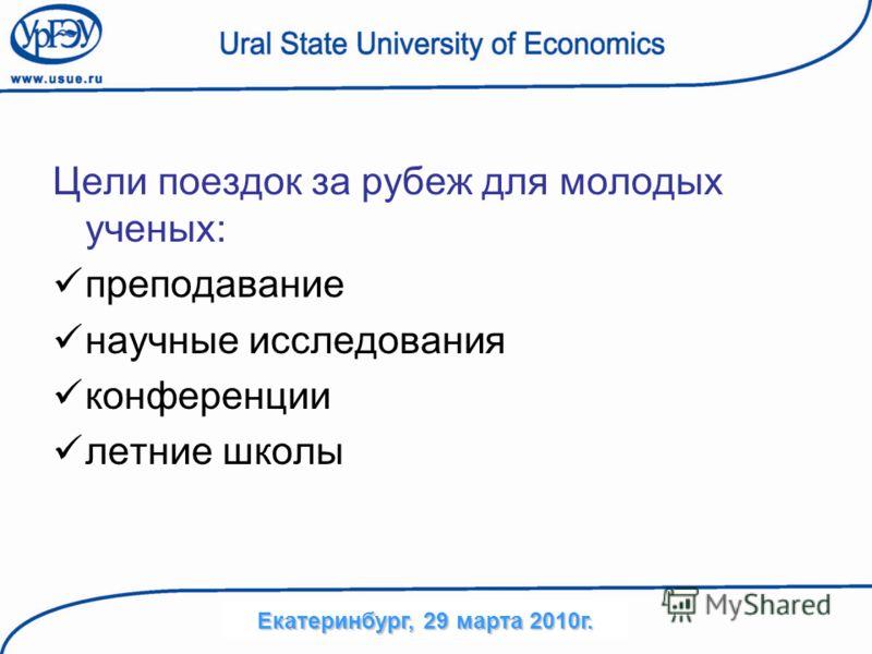 Цели поездок за рубеж для молодых ученых: преподавание научные исследования конференции летние школы Екатеринбург, 29 марта 2010г.