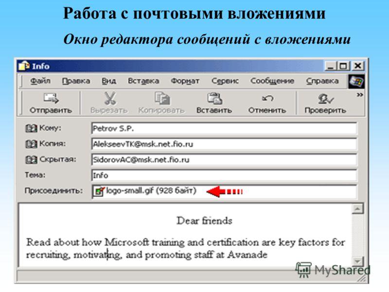 Работа с почтовыми вложениями Окно редактора сообщений с вложениями