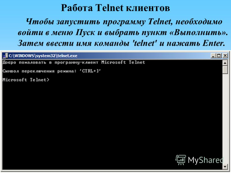 Работа Telnet клиентов Чтобы запустить программу Telnet, необходимо войти в меню Пуск и выбрать пункт «Выполнить». Затем ввести имя команды 'telnet' и нажать Enter.