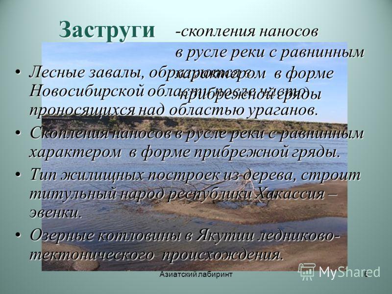 Азиатский лабиринт6 Заструги Лесные завалы, образуются в Новосибирской области после часто проносящихся над областью ураганов.Лесные завалы, образуются в Новосибирской области после часто проносящихся над областью ураганов. Скопления наносов в русле