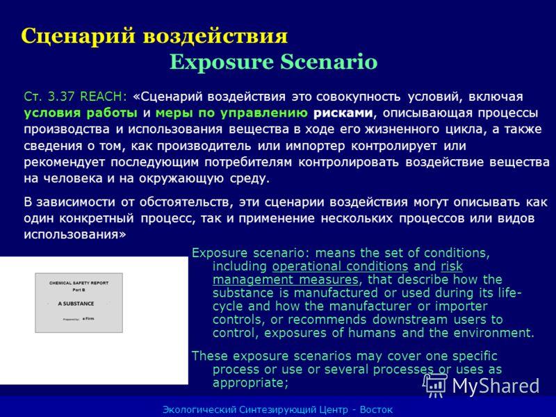 Экологический Синтезирующий Центр - Восток Ст. 3.37 REACH: «Сценарий воздействия это совокупность условий, включая условия работы и меры по управлению рисками, описывающая процессы производства и использования вещества в ходе его жизненного цикла, а
