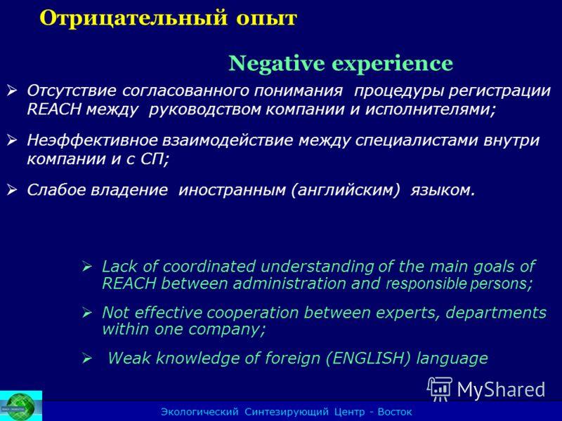 Экологический Синтезирующий Центр - Восток Отрицательный опыт Negative experience Отсутствие согласованного понимания процедуры регистрации REACH между руководством компании и исполнителями; Неэффективное взаимодействие между специалистами внутри ком