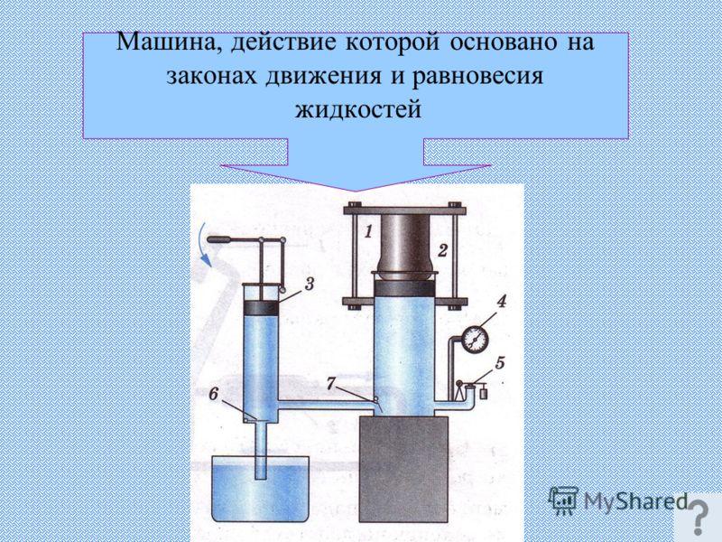 Машина, действие которой основано на законах движения и равновесия жидкостей