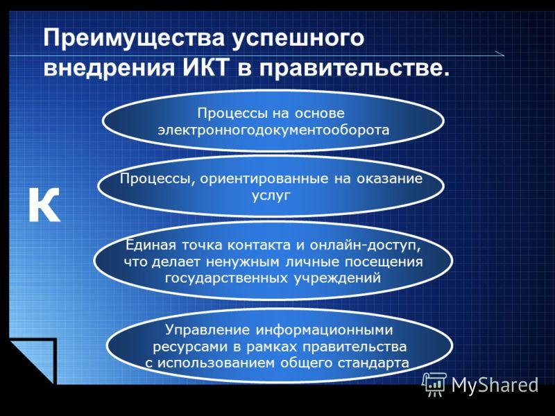LOGO www.themegallery.com Преимущества успешного внедрения ИКТ в правительстве. Процессы на основе электронногодокументооборота Процессы, ориентированные на оказание услуг Единая точка контакта и онлайн-доступ, что делает ненужным личные посещения го