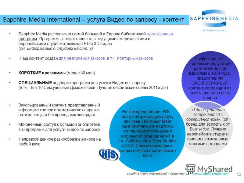 Sapphire Media International – услуга Видео по запросу - контент 13 Sapphire Media International – September 12 – www.sapphiremedia.comwww.sapphiremedia.com Sapphire Media располагает самой большой в Европе библиотекой эксклюзивных программ. Программ