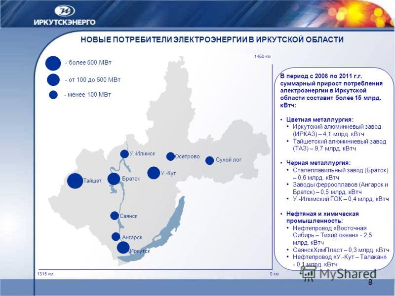 8 НОВЫЕ ПОТРЕБИТЕЛИ ЭЛЕКТРОЭНЕРГИИ В ИРКУТСКОЙ ОБЛАСТИ 0 км 1450 км 1318 км Тайшет Иркутск У.-Кут Братск В период с 2006 по 2011 г.г. суммарный прирост потребления электроэнергии в Иркутской области составит более 15 млрд. кВтч: Цветная металлургия:
