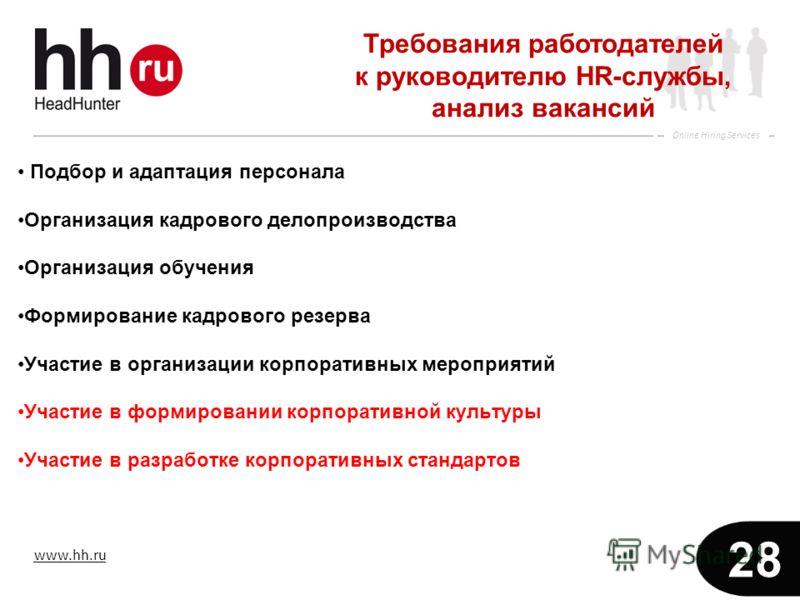www.hh.ru Online Hiring Services 28 Подбор и адаптация персонала Организация кадрового делопроизводства Организация обучения Формирование кадрового резерва Участие в организации корпоративных мероприятий Участие в формировании корпоративной культуры